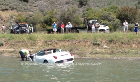 Car Crash Brand New Ferrari California Tries to Swim 01