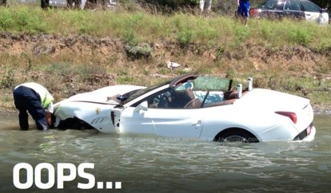 Car Crash Brand New Ferrari California Tries to Swim