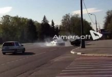 Car Crash Russian Audi R8 Flees After Flipping Lada While Drifting