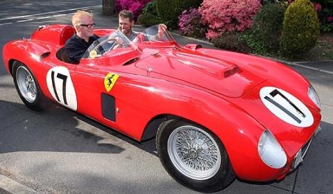 Chris Evans and Lee Westwood in Evans 1956 Ferrari 860 Monza