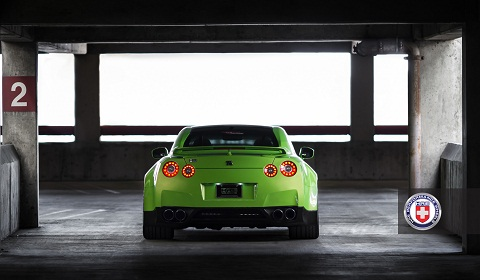 Green Hulk Widebody Nissan GTR on HRE Wheels