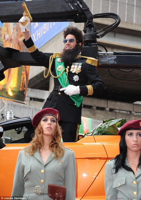 The Dictator Arrives at London Premiere in Gallardo Spyder 01