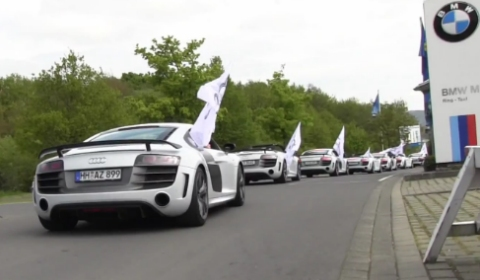 Video Fourteen Audi R8 GTs at the Nurburgring