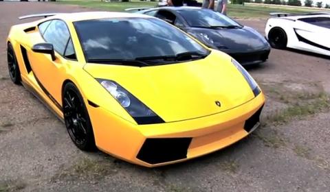 Video Underground Racing Twin Turbo Lamborghinis vs AMS Alpha Omega GT-R