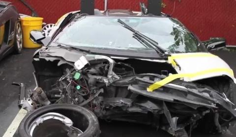 Lamborghini on Video  Wrecked Lamborghini Murcielago Lp640 Roadster Filmed