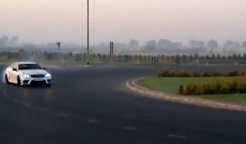 Al Thani Mercedes-Benz C63 AMG Black Series Drifts Roundabout