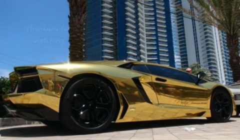 Video Golden Lamborghini Aventador LP700-4 aka Project AU79
