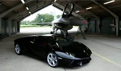 Video Lamborghini Aventador vs F16 Fighting Falcon