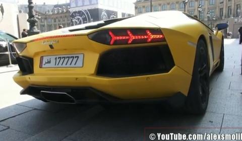 Video Matte Yellow Lamborghini Aventador LP700-4 in Paris