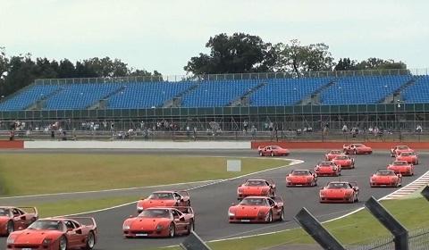 62 Ferrari F40's at Silverstone Classic 2012
