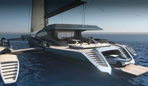 CXL Trimaran Concept Floating Garage for McLaren MP4-12C