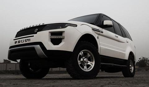 Tata Safari Transformed into Moon Rover Evoque Replica