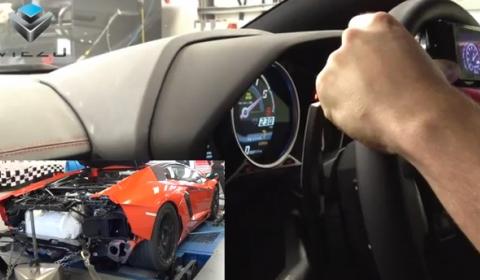Video Lamborghini Aventador Flaming Dyno Run with Viezu and Oakley Design
