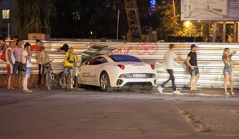 Ferrari California Crashes into Guard Rail on Test Drive