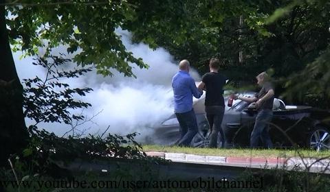 Hertz Rental Jaguar XKR Convertible on Fire at Nurburgring