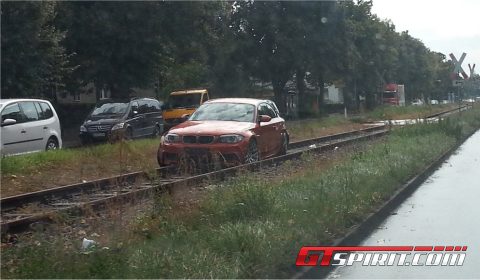 BMW 1 Series M Coupe Stuck into Tram Rails 01