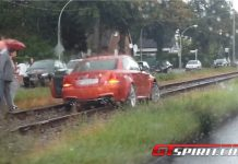 BMW 1 Series M Coupe Stuck into Tram Rails