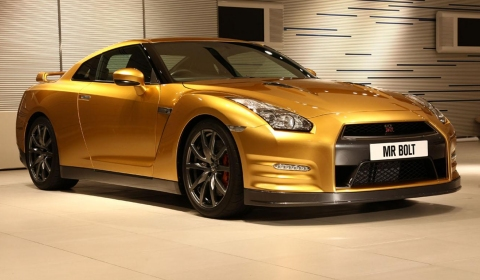 Gold-painted Nissan GT-R