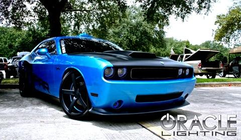 Mopar Dodge Challenger with dual Oracle halos