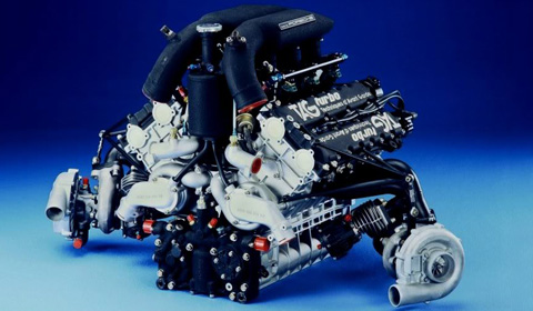 The Porsche-built TAG 1.5-liter twin turbo V6 engine.