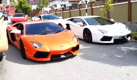 Malaysian Wedding Features Exotic Car Parade