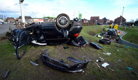Porsche and Mercedes Wreck in Fatal Car Crash in Belgium 04