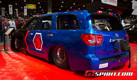 Toyota booth at SEMA 2012 . The drag racer is ment for four people and