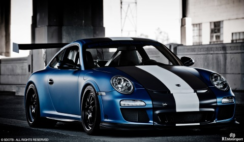 Satin Blue Porsche GT3RS by R1 Motorsports