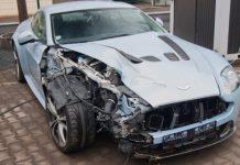 Car Crash Aston Martin V12 Wrecked in Czech Republic