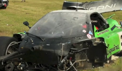 Car Crash Pagani Zonda GR Racer Wrecked at Most Circuit