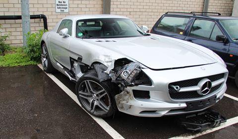 Car Crash Mercedes SLS AMG wrecked in Germany
