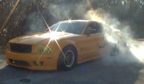 Santa doing a burnout in 1,000hp Saleen Mustang