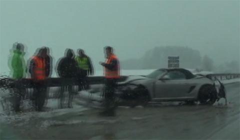 Video Porsche Boxster Crashes on Snow Covered Autobahn