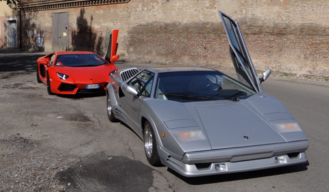 Lamborghini Aventador with Countach in Sant'Agata