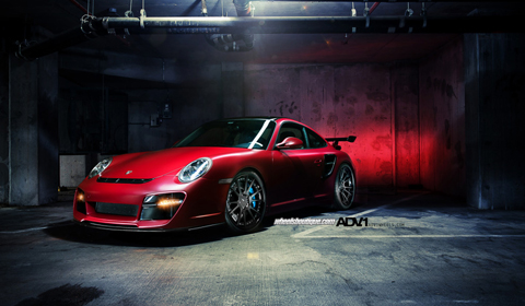 Matte red Porsche 997.2 911 Turbo by Wheels Boutique and ADV.1