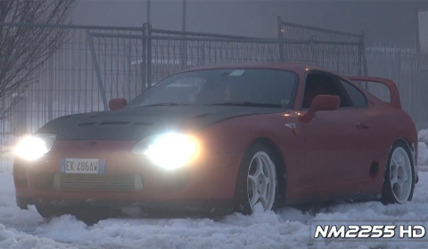 Twin Turbo Toyota Supra drifting in the snow