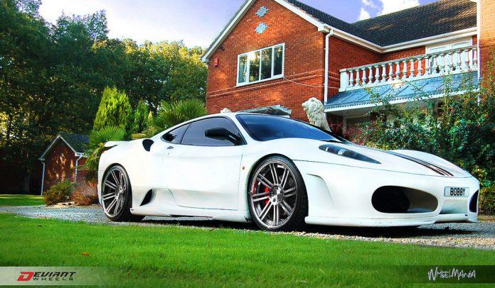 White Ferrari F430 on Deviant DV8.2 Wheels