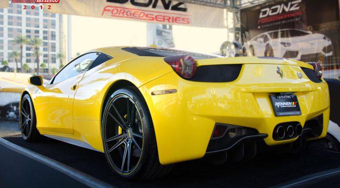 Yellow Ferrari 458 Italia on Rennen Forged Donz Ferranti Wheels