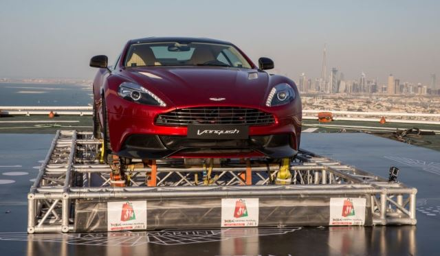 Aston Martin Takes New Vanquish on the Burj Al Arab Helipad