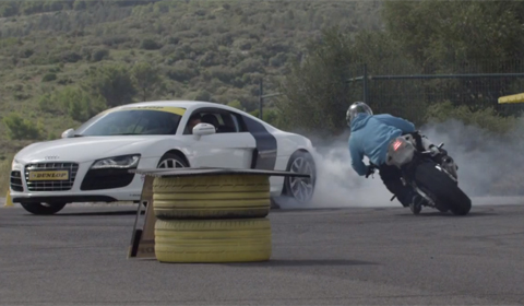 Video: Audi R8 V10 and BMW S1000RR Synchronized Drift