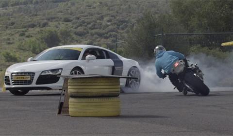 Video: Audi R8 V10 and BMW S1000RR Synchronized Drift