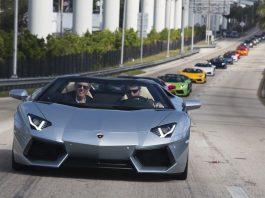 Video: Twelve Lamborghini Aventador Roadster's in Miami