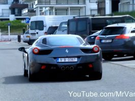 Video: Ferrari 458 Italia Start up and Drive in Belgium