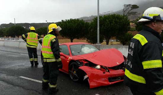 Car Crash: Frank Buyanga Crashes Ferrari 458 Italia in Cape Town
