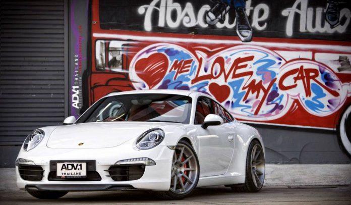 White Porsche 991 911 Rolling on ADV.1 Wheels