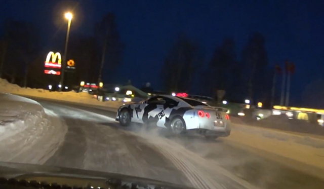 Video: Team Ice Ricers Drifting Nissan GT-R in Snow Covered Sweden