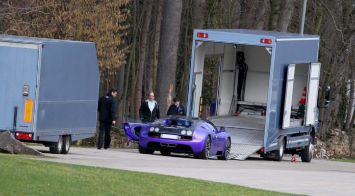 Purple and Black Bugatti Veyron SuperSports at the Factory