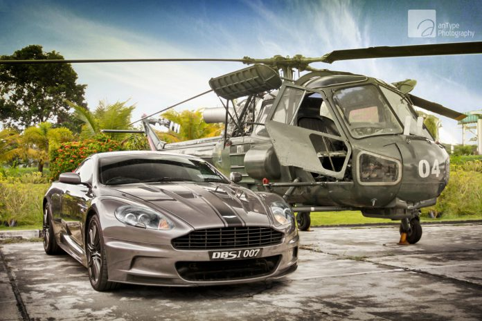 Photo Of The Day: Silver Aston Martin DBS With Army Helicopter