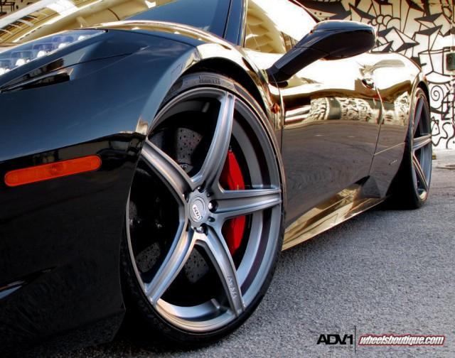 Black Ferrari 458 Italia on ADV.1 Wheels by Wheels Boutique