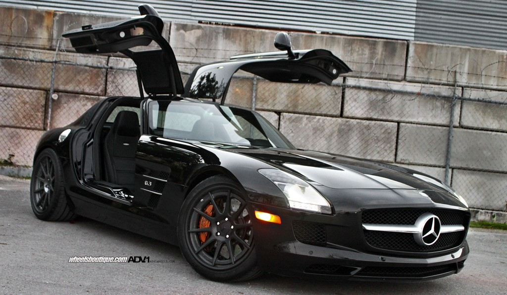 Murdered-out Mercedes-Benz SLS AMG on ADV.1 Wheels